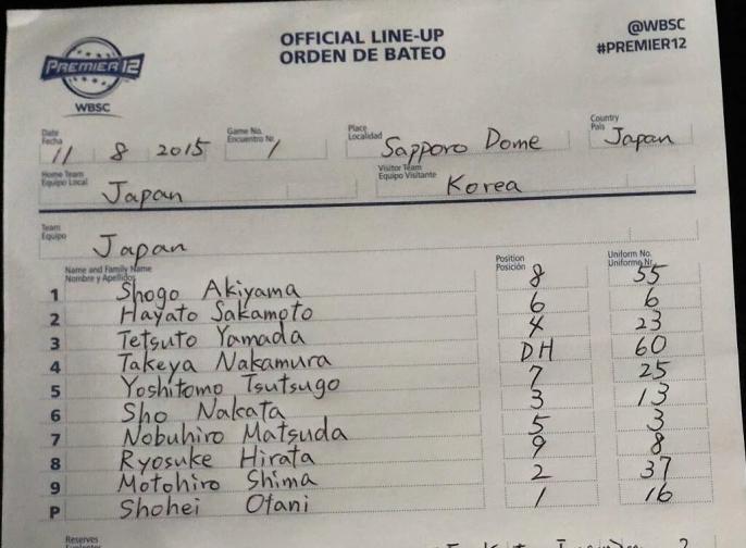 【プレミア12】日本 vs 韓国【スタメン】