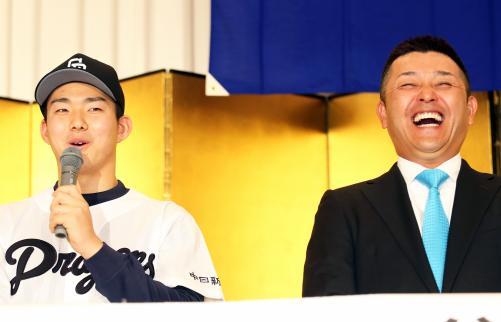 中日ドラ1小笠原が入団会見「5億円プレーヤーに」