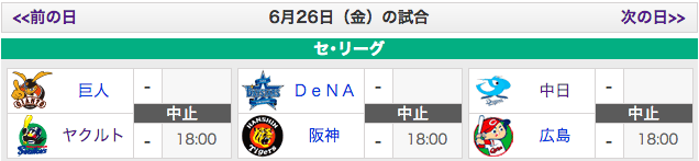 【6/26】広島vs中日、中止決定