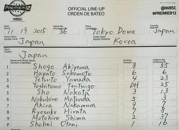 【プレミア12】日本 vs 韓国 レフパチ平田【スタメン】
