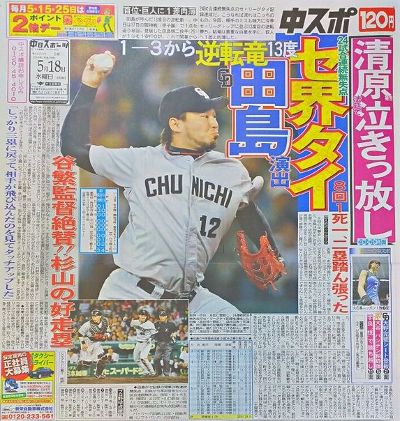 【祝】中日田島24試合連続無失点
